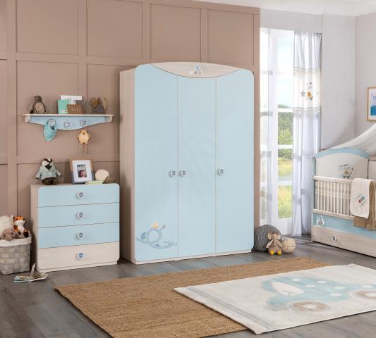 Babykamer blauw 3 deurs kledingkast baby binnenkant