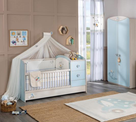 Babykamer blauw babybed baby kamer ledikant peuterbed meegroeibed peuter
