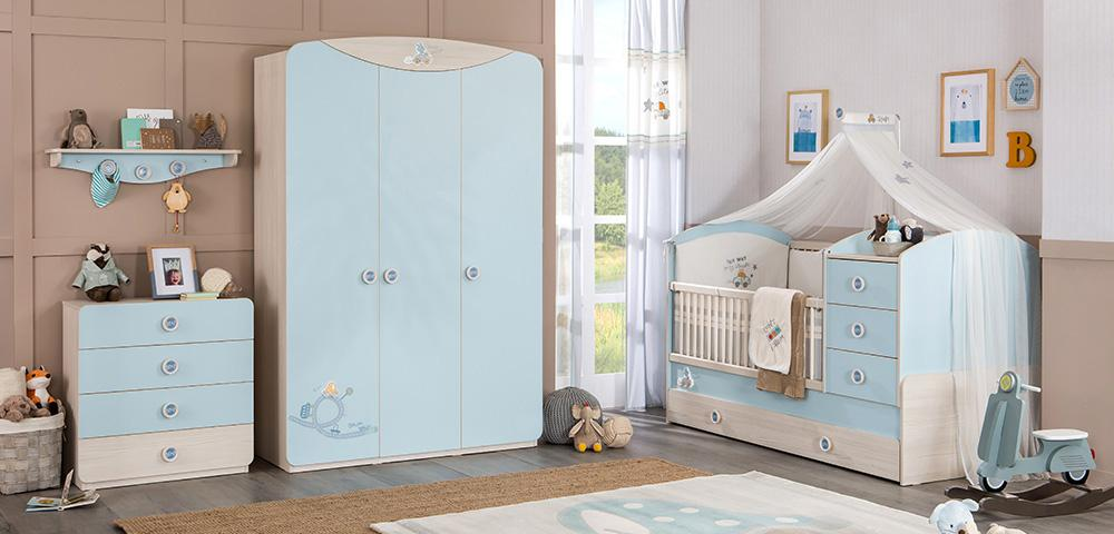 Babykamer blauw babybed babykamer ledikant peuterbed details meegroeibed