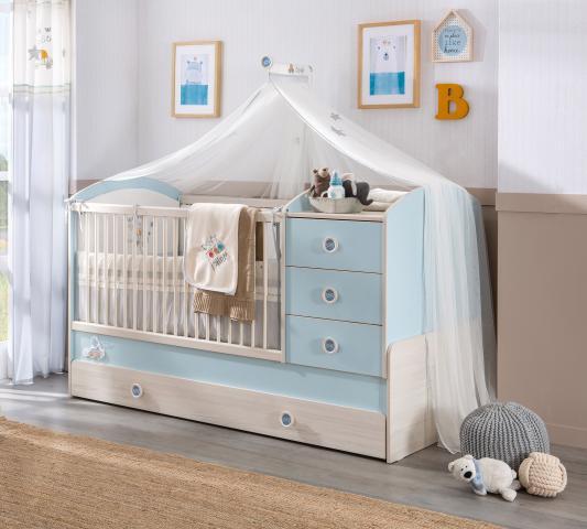 babykamer blauw babybed peuterbed meegroeibed babykamer peuter ledikant commode