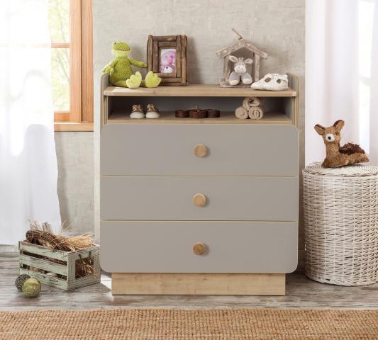 Babykamer Grijs commode, ladekast, kinderladekast grijs met hout look