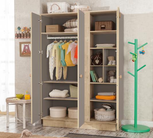 Babykamer Grijs 3 deurs kledingkast met LED verlichting, kledingstang en schappen