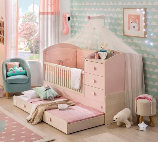 Babykamer roze baby bed baby kamer meisjes peuterbed meegroeibed peuter