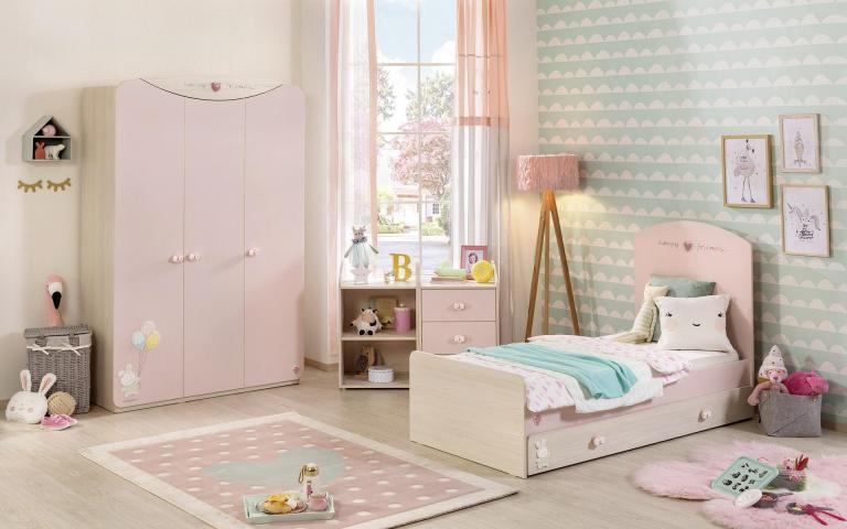Babykamer roze baby peuterkamer meisjes peuterbed meegroeibed peuter