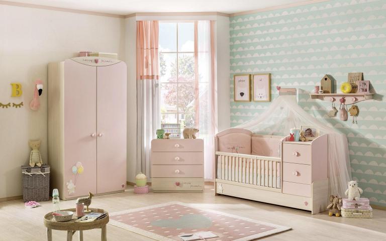 Babykamer roze babybed baby kamer ledikant peuterbed meisjes meegroeibed peuter compleet