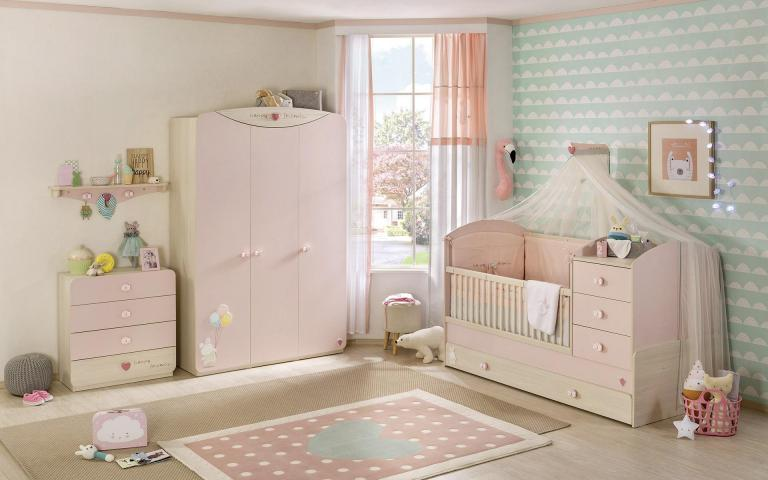 Babykamer roze meisjes babybed baby kamer ledikant peuterbed meegroeibed peuter compleet