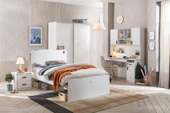 California tienerkamer wit bed, schuifdeur kledingkast & bureau