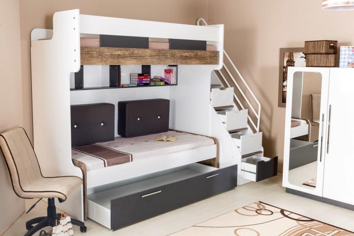 Compact bed hoogslaper stapelbed kinderkamer tienerkamer jongenskamer ombouw kast