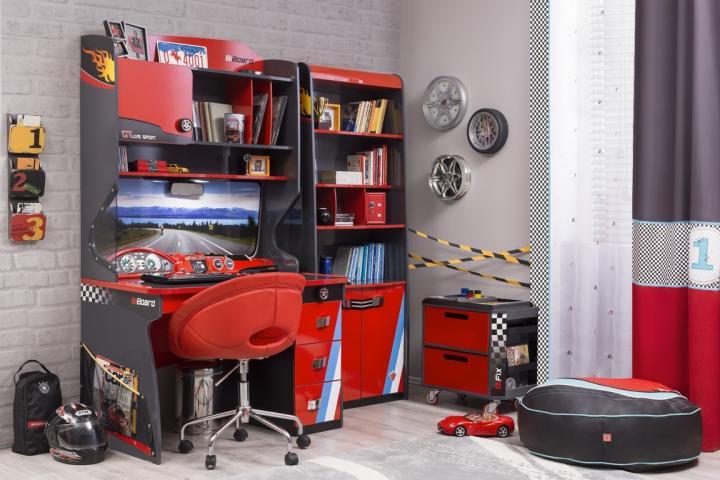 champion racer kinderkamer jongens boekenkast bureau