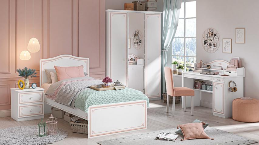 Emily Pink meisjeskamer, kinderkamer, wit met roze prinsessenkamer