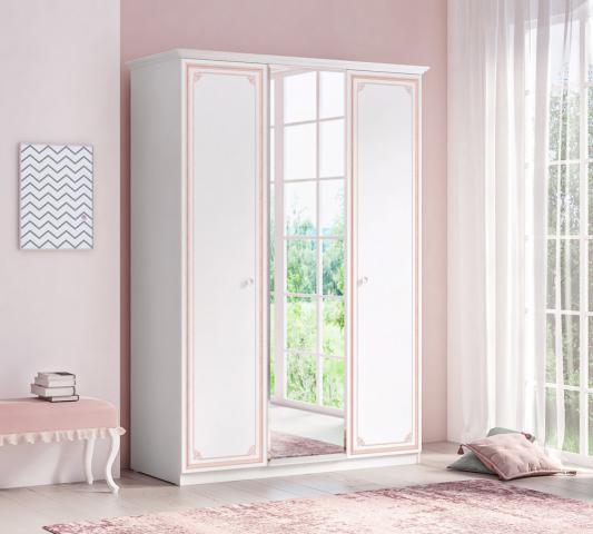 Emily Pink 3-deurs kledingkast, wit met roze kledingkast met spiegel, hanggedeelte en schappen
