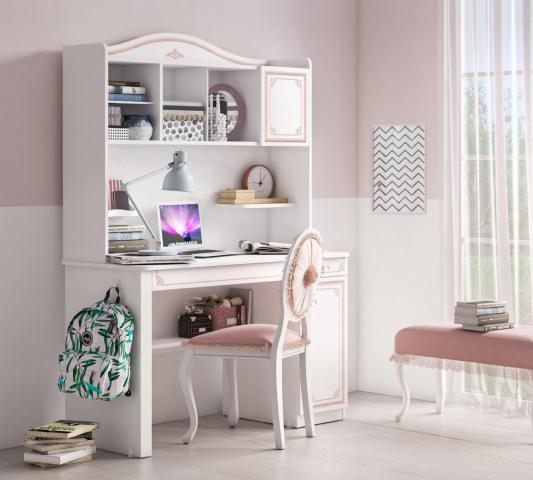 Emily Pink bureau groot compleet, meisjes bureau met bovendeel en veel opbergruimte, inspiratie meisjeskamer