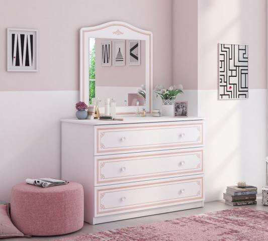 Emily Pink commode ladekast groot met spiegel meisjeskamer kinderkamer prinsessenkamer
