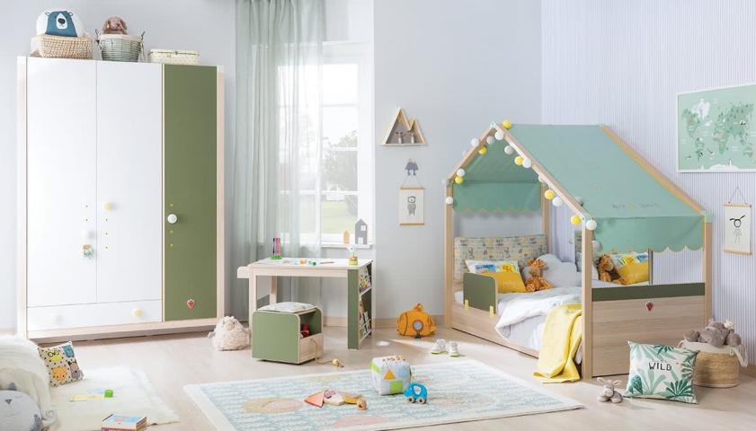 Montes babykamer peuterkamer met bedhuisje en kledingkast, complete kinderkamer
