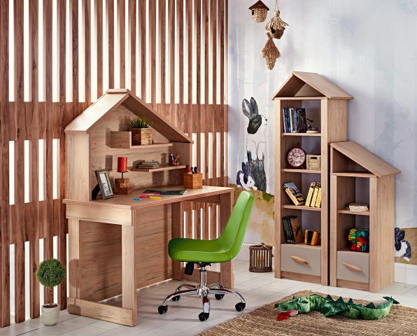 Cento bureau huisje en houtlook boekenkast, inspiratie complete kinderkamer, inspiratie meisjeskamer houtlook, complete jongenskamer