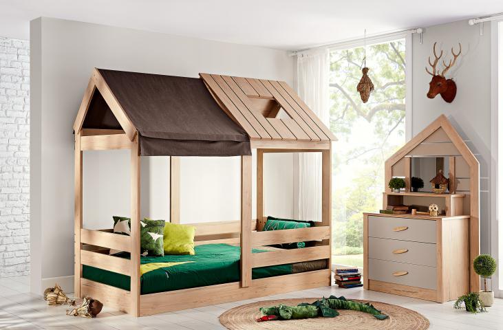 Cento bedhuisje houtlook, bedhuisje jongens, bed huisje meisjes, inspiratie meisjeskamer huisje houtlook, inspiratie complete jongenskamer