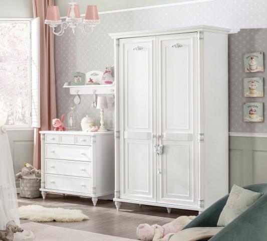 Romantic kledingkast babykamer meisje wit commode ladekast kinderladekast
