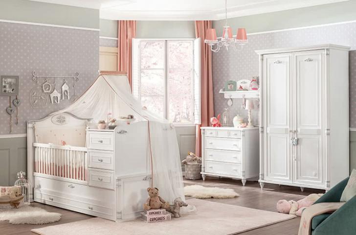 Romantic meisjes babybed babykamer peuterbed meegroeibed compleet