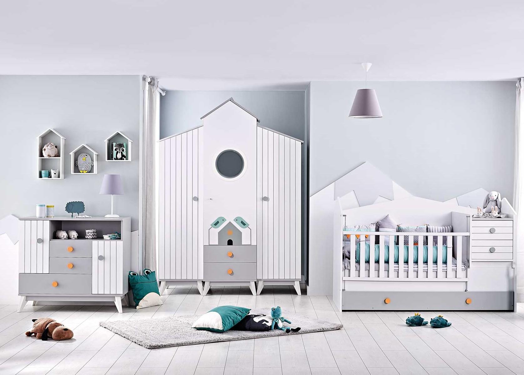 Birdy wit grijze babykamer