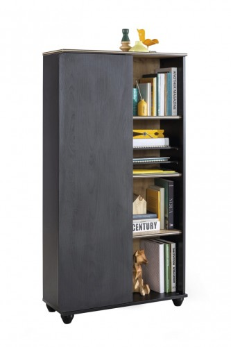 New York boekenkast zwart, kast zwart, kast industriële kamer, kledingkast tienerkamer zwart