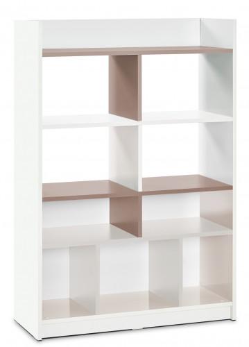 Tivoli boekenkast wit met bruin, grote boekenkast kinderkamer