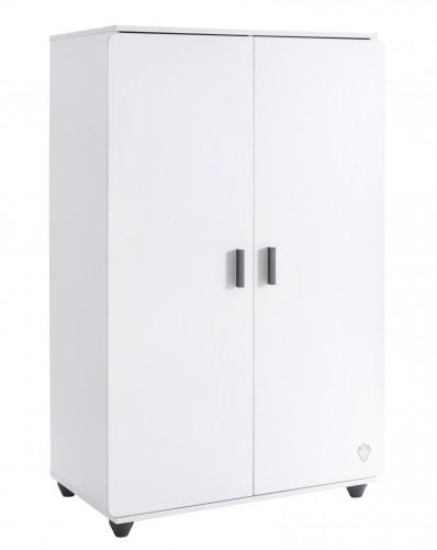 California Compact 2 deurs kinderkledingkast wit, kledingkast kleine slaapkamer wit, jongenskast meisjeskast