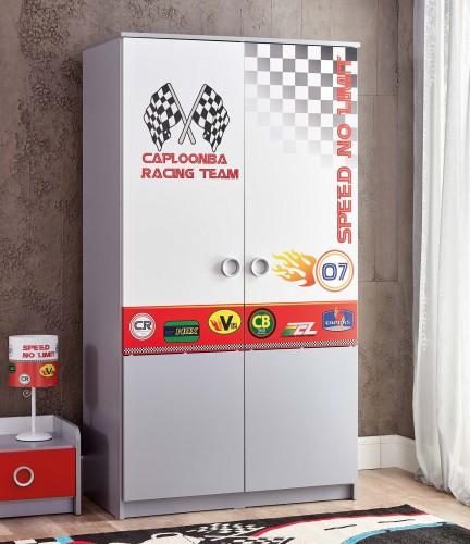Turbo 2-deurs kledingkast, kledingkast auto thema, kledingkast autokamer, jongenskamer auto kledingkast