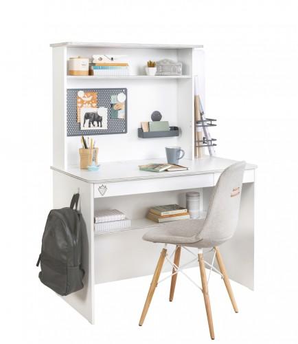 California wit bureau met bovenstuk, inspiratie wit kinderbureau, bureau jongens wit, bureau meisjes wit