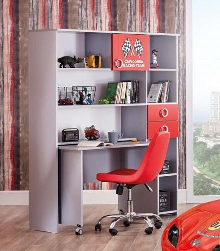 Turbo groot bureau grijs en rood, autobureau, kinderbureau auto jongenskamer