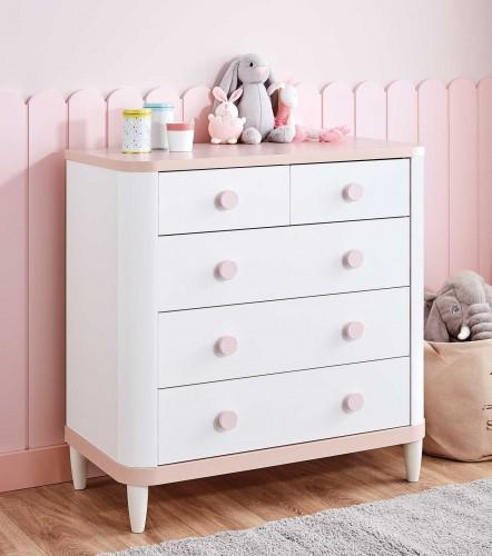 Femi commode ladekast wit met zachtroze, lichtroze, roze, kinderladekast 5 lades