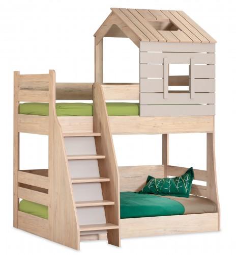 Cento stapelbed bedhuisje kinderkamer, stapelbed jongens, houtlook stapelbed meisjes, stapelbed houtlook en grijs