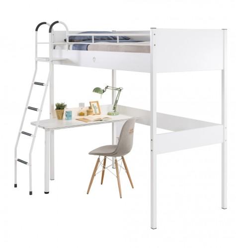 California Compact hoogslaper wit, handig bed voor kleine kamer, bed kleine kinderkamer, bed kleine jongenskamer, witte hoogslaper