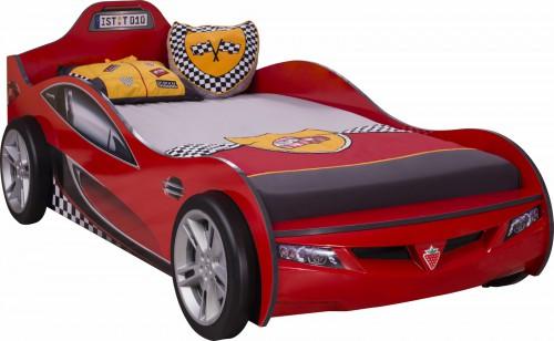 Autobed kinderbed rood, jongensbed auto, autokamer jongenskamer, inspiratie kinderkamer
