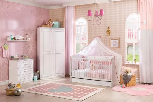 Emily babykamer wit meisje, peuterkamer, meegroeikamer, meegroeibed, babybed, peuterbed, complete babykamer