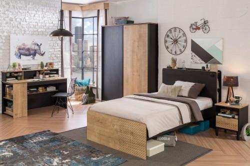 New York tienerkamer, complete slaapkamer, kinderkamer zwart en houtlook