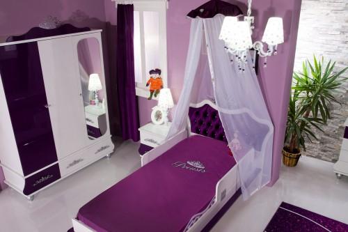 Prinses paars prinsessenbed met roze hoofdbord, meisjesbed, kinderbed, bed 200 x 120 twijfelaar prinses