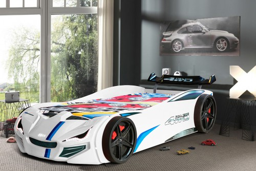 Autobed BLX wit, racebed jongenskamer, inspiratie autokamer, inspiratie kinderkamer auto, autobed jongens, wit auto bed