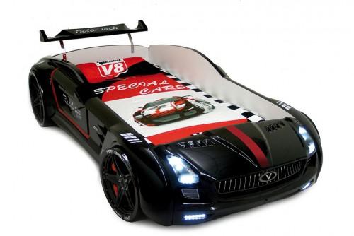 Roadster zwart autobed, kinderbed, jongensbed auto zwart met LED verlichting en geluid, autokamer, jongenskamer auto, kinderkamer, racekamer