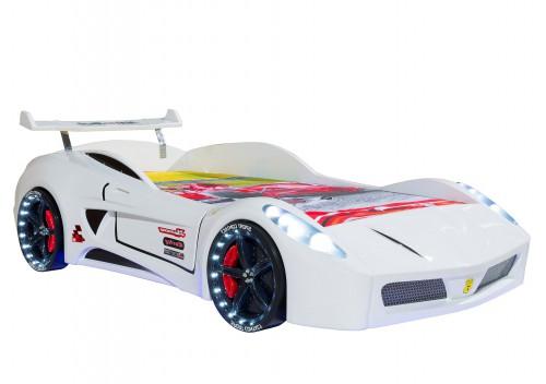 Autobed wit racebed racekamer kinderkamer jongenskamer jongensbed auto