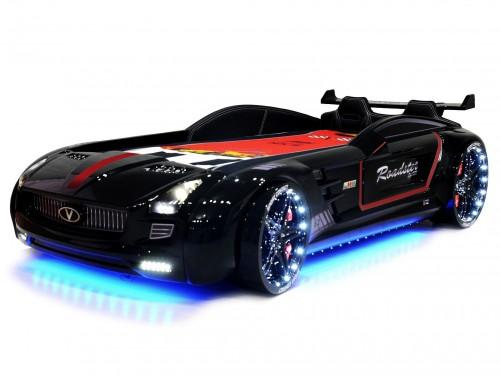 Roadster autobed zwart, autobed jongens, racebed met geluid en verlichting, autobed met stoere spoiler, autobed met lederen bekleding