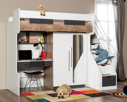 Compact hoogslaper met kledingkast en bureau, inspiratie kleine kinderkamer, inspiratie compacte kinderkamer, kinderkamer kleine ruimte, kleine meisjeskamer, moderne slaapkamer