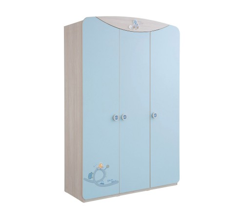 Babykamer blauw kledingkast 3 deurs jongens