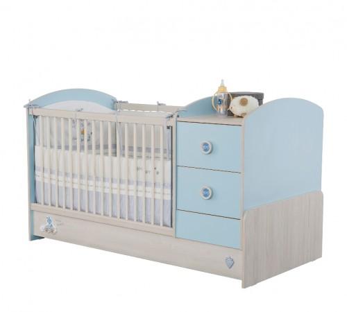 Babykamer blauw meegroeibed ledikant