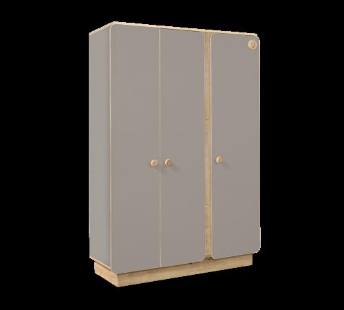 Milaan babykamer grijze kledingkast met 3 deuren, LED verlichting in de kledingstang en schappen, grijs en houtkleurige kledingkast babykamer