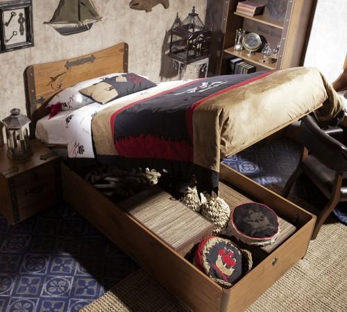 Black Pirate opbergbed, bed met opbergruimte, kinderbed, piratenbed, jongensbed, inspiratie jongenskamer, inspiratie piratenkamer