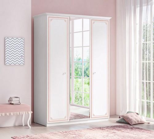 Emily Pink 3-deurs kledingkast, meisjes kledingkast met spiegel, grote kledingkast meisjeskamer, inspiratie complete kinderkamer, wit met pastelroze meisjeskamer