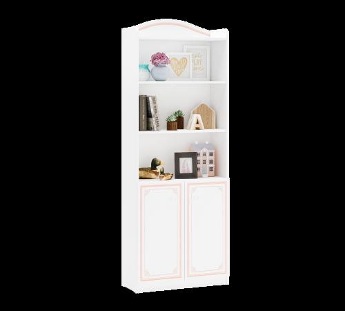 Emily Pink boekenkast wit met roze voor de meisjeskamer, inspiratie complete meisjeskamer, kast meisjeskamer, grote witte boekenkast