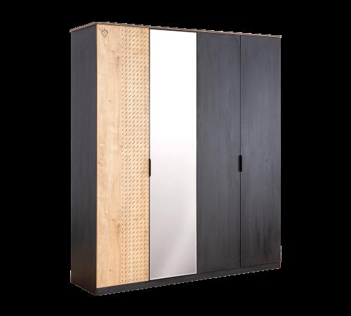 New York 4 deurs kledingkast tienerkamer, grote kledingkast 4 deuren met spiegel en kledingstang, kledingkast met verlichting