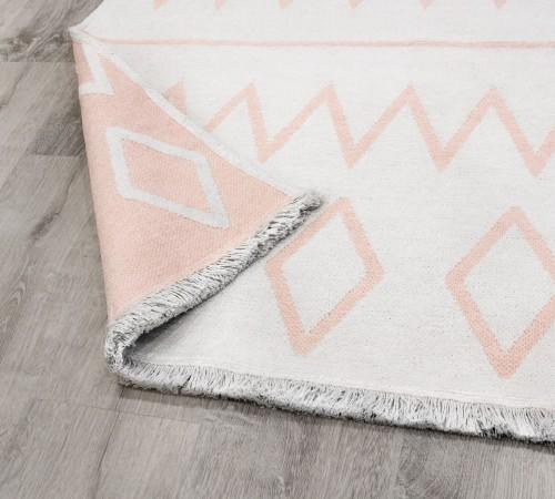 Pink stripe vloerkleed dubbelzijdig, roze tapijt met witte strepen, wit tapijt met roze strepen meisjeskamer