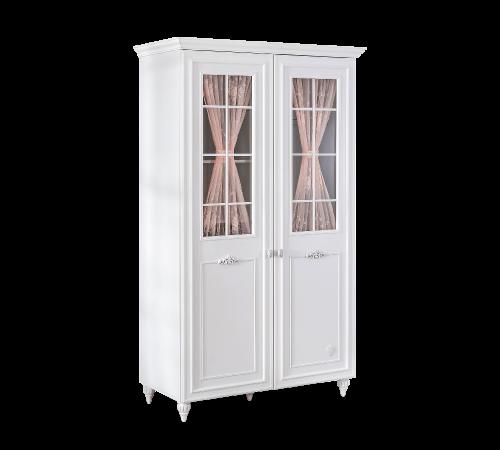 Romance 2 deurs kledingkast met LED verlichting, ramen, schappen en een kledingstang